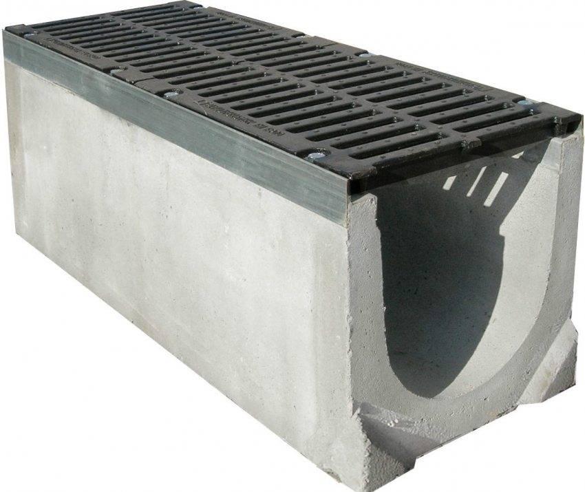 Водоотводной лоток бетонный с решеткой