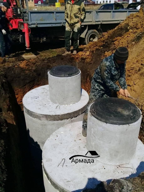 Септик из бетонных колец - схема 2 колодца и устройство