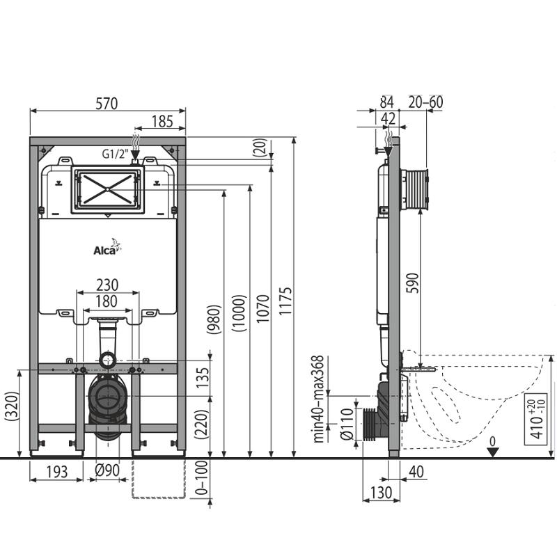 Размеры инсталляций для унитаза: стандартная высота от пола, ширина, нормы глубины и толщины, габариты короба для подвесного унитаза