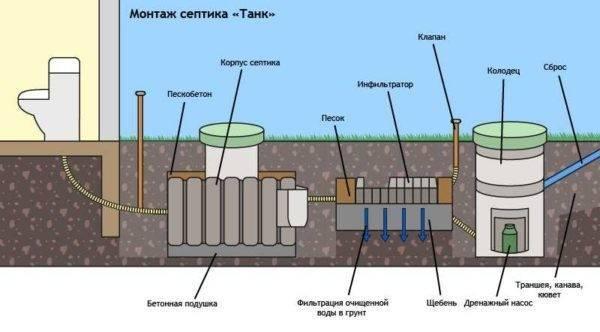 Как выполняется установка септика танк на участке?