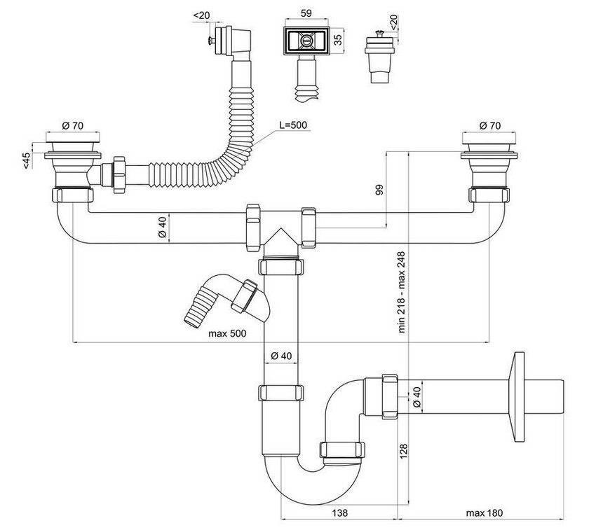 Слив для раковины на кухне - все о канализации