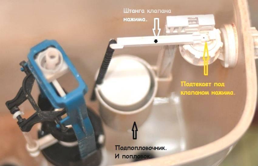 Течет вода в унитазе после наполнения бачка