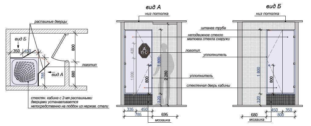 Какая высота обычно бывает у душевой кабины? особенности выбора