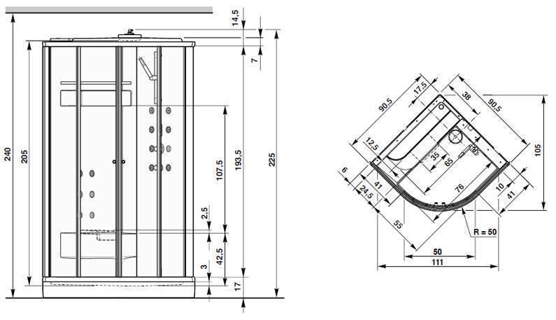 Высота душевой кабины: стандартные размеры, высота от пола до потолка и 180-190 см