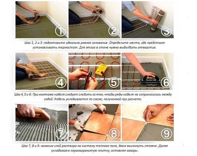 Особенности укладки плитки на теплый пол: Обзор +Видео