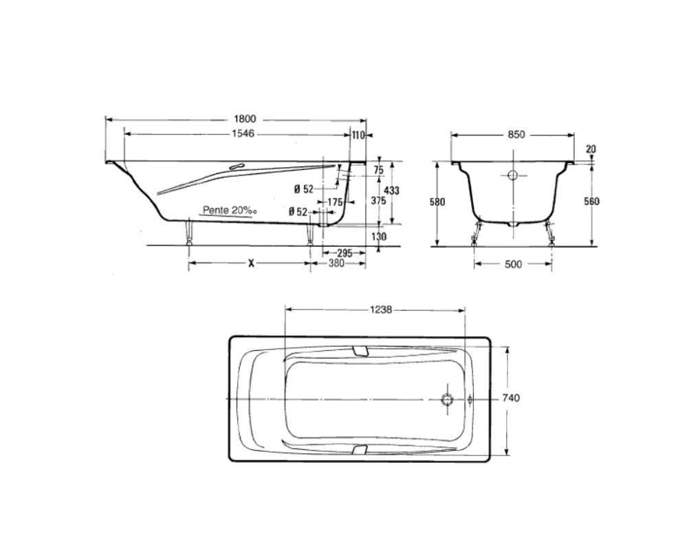 Стандартный вес чугунной ванны советского производства