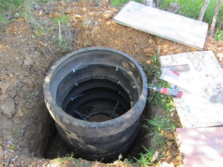 Как сделать своими руками сливную яму из покрышек