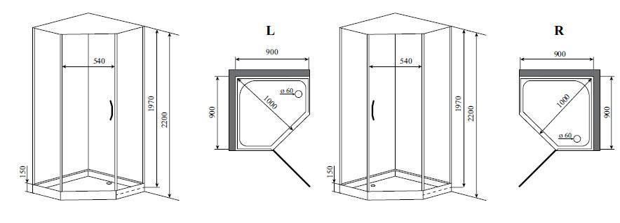 Размеры душевой кабины - советы по выбору и типы кабин
