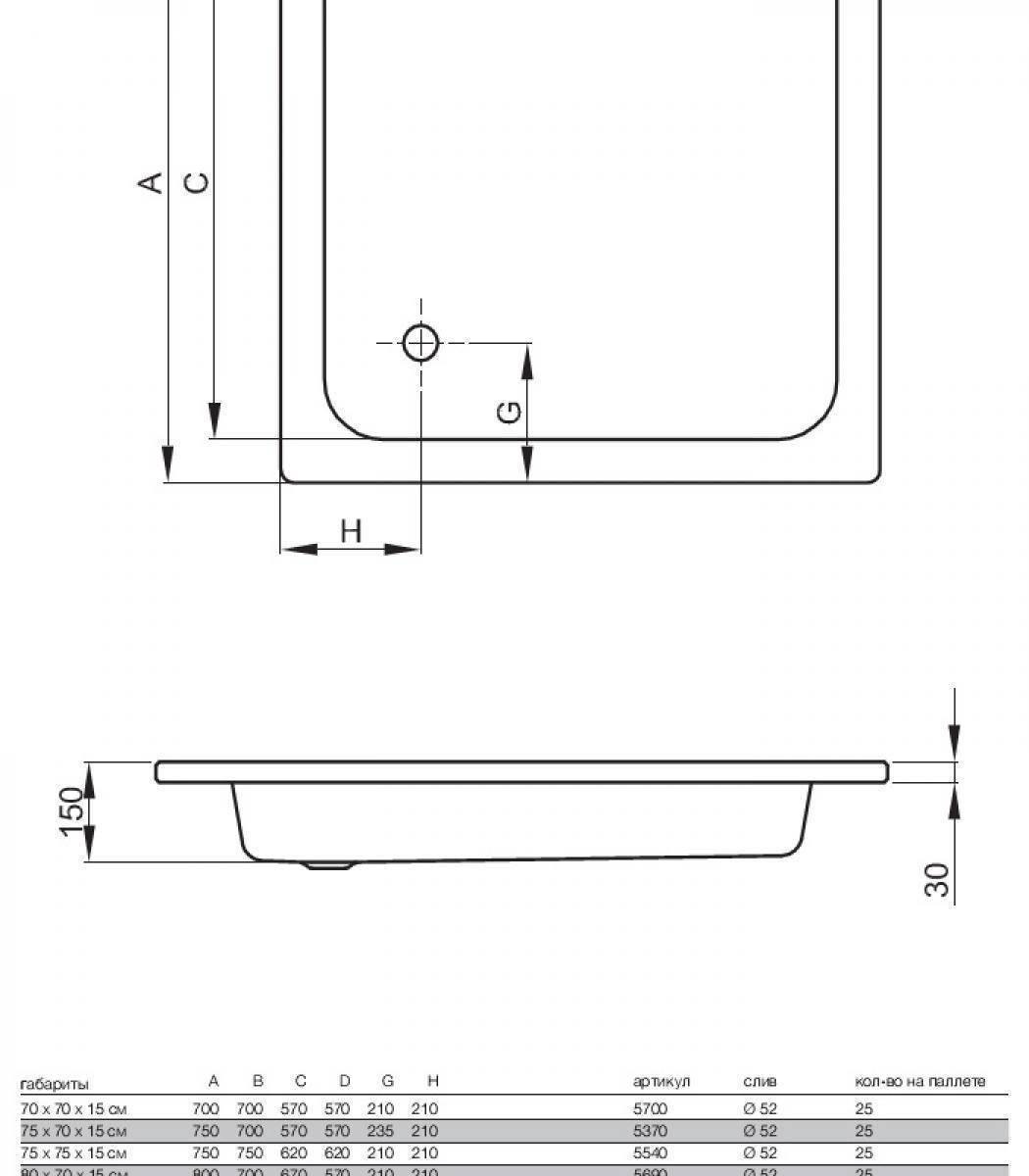 Поддоны для душевой кабины: формы и размеры