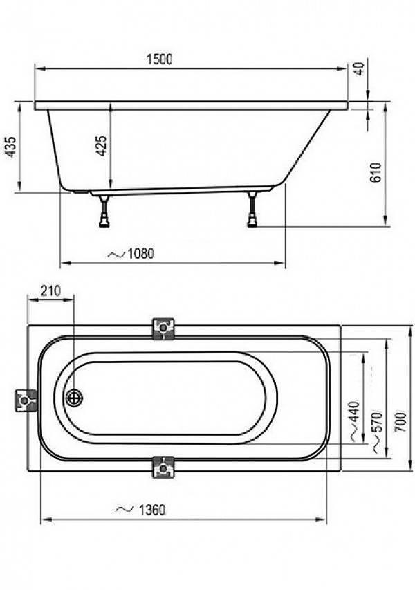Размер ванны: стандартной, сидячей, угловой, чугунной, стальной, акриловой