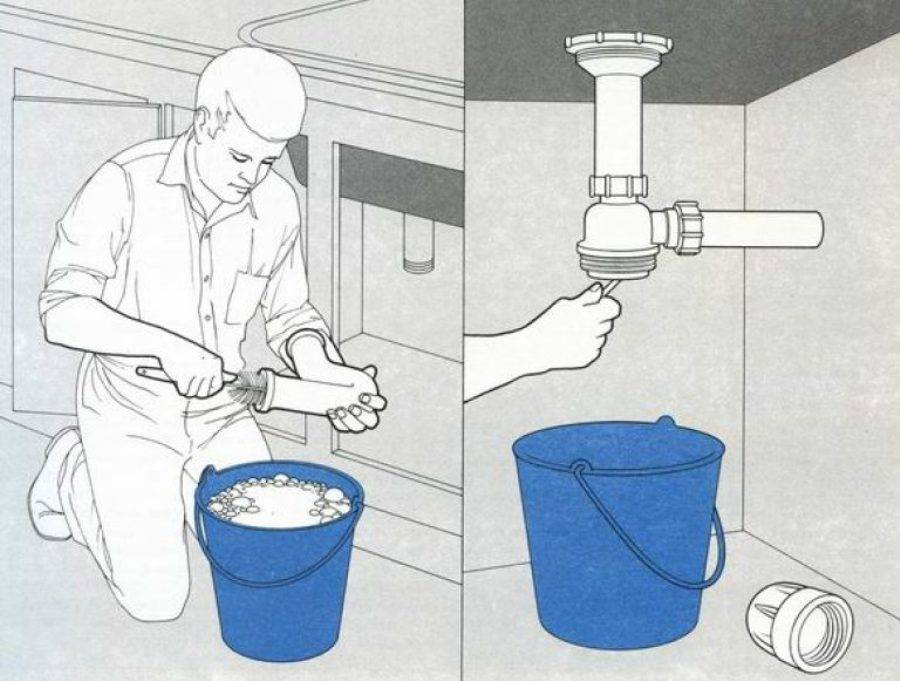 Как устранить засор в ванной и вода уходила