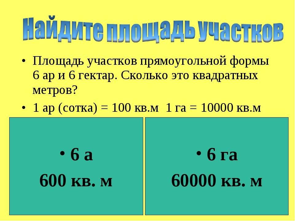 Единицы измерения площади (5 класс)