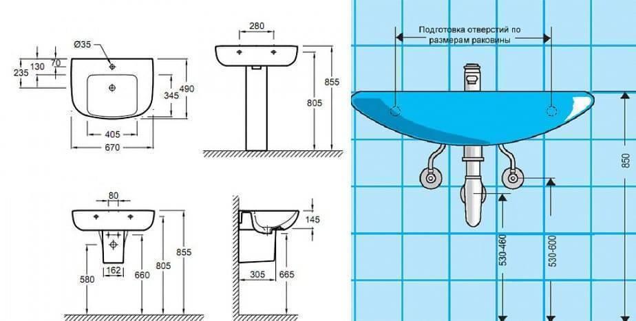Как производится установка раковины в ванной?