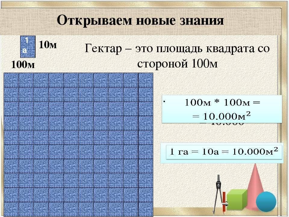 1 гектар это сколько метров на метров