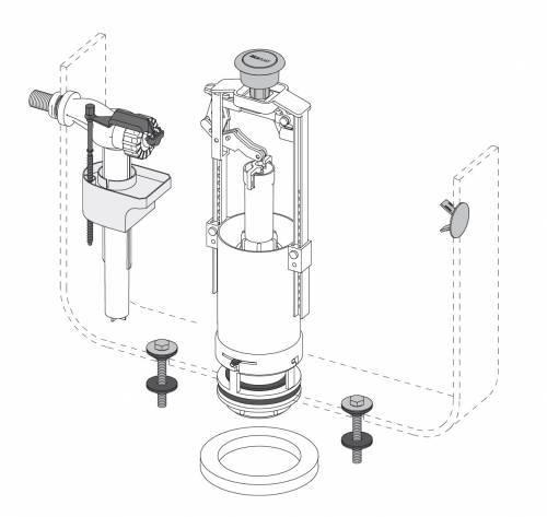 Самостоятельный ремонт сливного бачка унитаза с одной или двумя кнопками