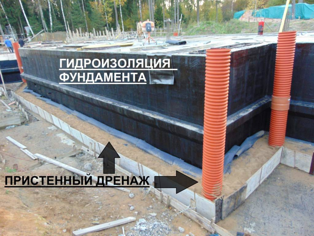 Гидроизоляция зданий включает в себя пристенный дренаж для фундамента