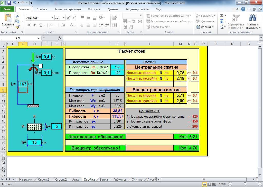 Расчет нагрузки на профильную трубу – онлайн калькулятор и таблицы расчетов