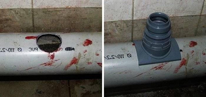 Врезка в канализационную трубу