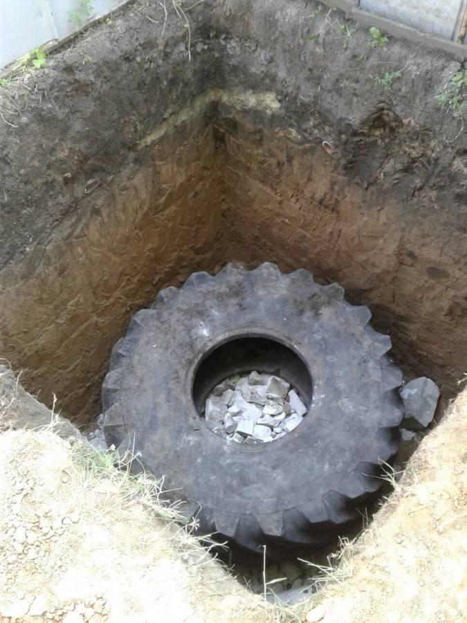 Сливная яма из покрышек своими руками для бани и частного дома: отзывы, фото, видео