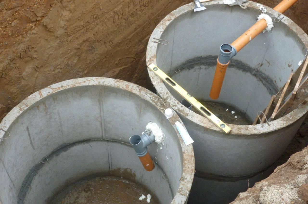 Канализация из бетонных колец с переливом своими руками