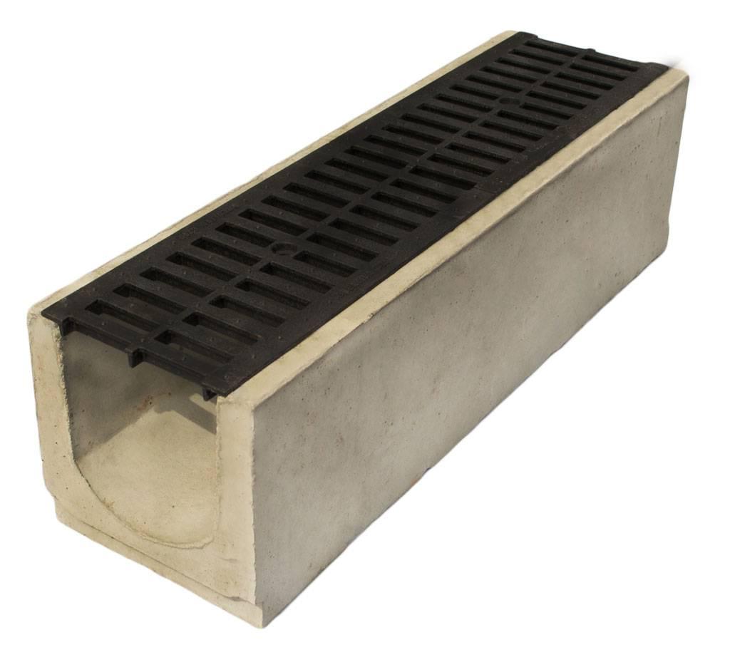 Водоотводные пластиковые лотки: дренажные водосточные с решеткой для ливневой канализации, размеры ливневки